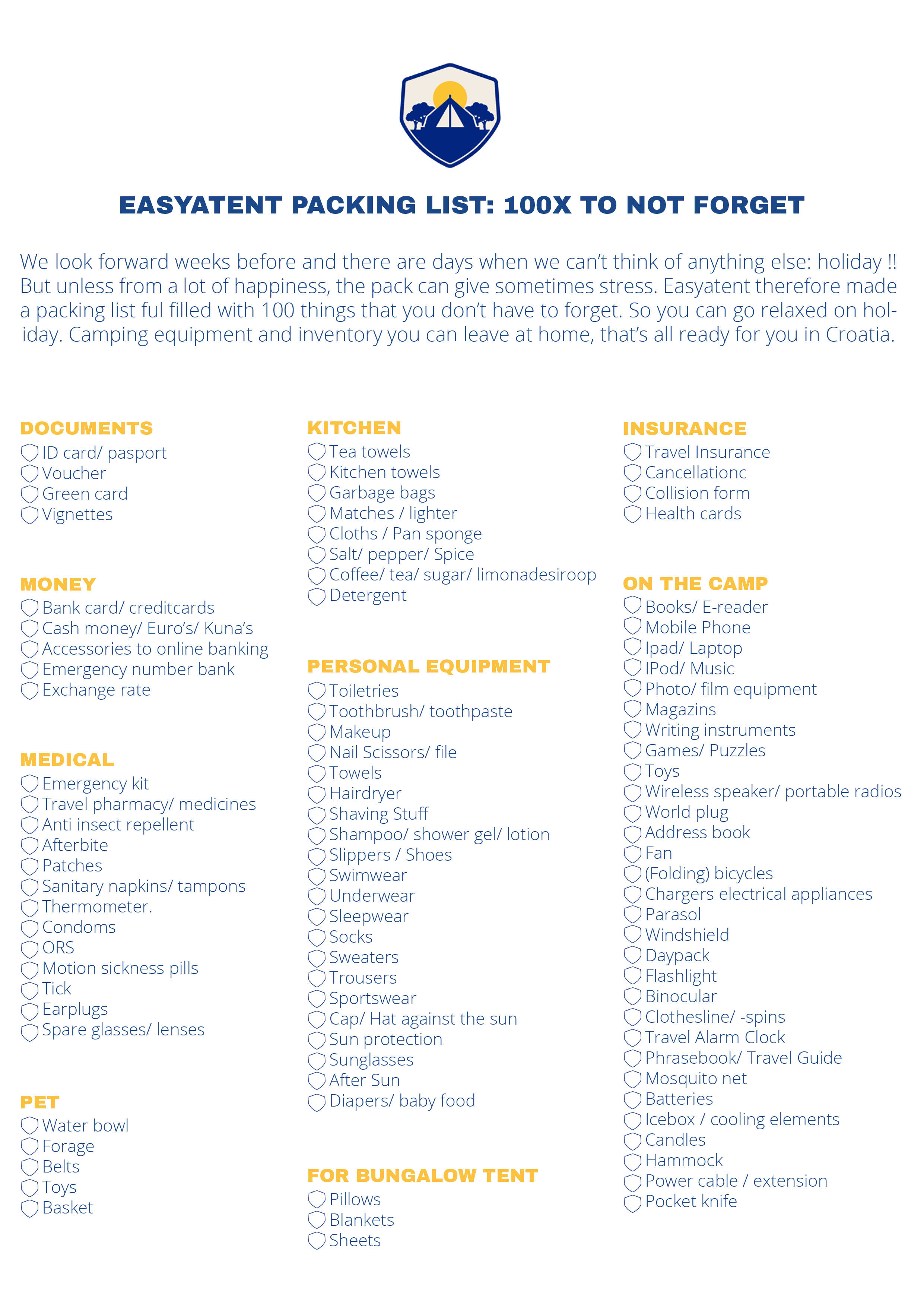 Map and packing list. By clicking on the image you can download and print  the map.